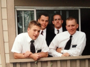 We were lucky to live in  an apartment it another companionship. (Other people to talk to at the end of the day.) Langston on your right, was my companion. He was a great young missionary, only out a few months longer than me. Martinson in the back and his companion Idaho Ray.