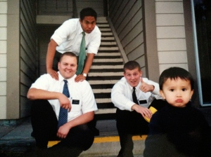 Every 6 weeks, the mission was shaken up with a Transfer. Elder Ka'onohi (Elder K) was transferred in as my companion. Elder Kieth and Tennessee Ray replaced Idaho Ray and Martinson. There is the child again.
