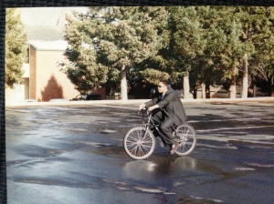 Elder K was in love with this new bike he got at a transfer meeting and rode it around the church parking lot.