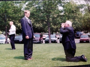 The old fellow is Bob and he's taking a photo of Elder Smallwood. He'd been baptized a year or so before I met him, and always hung out with missionaries. He was very serious about his portraits. We did laundry at his house and occasionally watched TV (Not supposed to watch TV.)