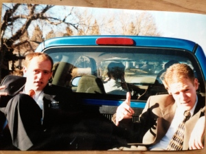 This is my favorite picture. We rode around in the backs of trucks often. To and from Transfer meetings. Duff and Elder Goettman on the right. Goettz was quiet, but about as cool as it got. He played in a band back home. He was into the Black Crowes and stuff.