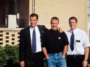 "Elder Hiestand, on the right, was a good friend of mine. That's a member of the church in the middle. I guess he'd about my age now. We looked up to him because he had a beautiful wife and was super cool. He drove us around in a convertable Ford Galaxy from the 60's. We were in that car one night when he took 4 of us to buy ice cream. He opened his wallet and said ""Get whatever you want Elders, I have eleven dollars."""