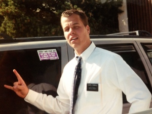 "This car was owned by one of the ""lesbians"" from the apartment upstairs. The sticker reads ""When I was your age we had to walk 2 miles to get stoned and have sex."" This is a very typical missionary photo."