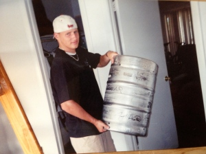 I don't remember where we found this keg that Elder Hanson from Des Moines Iowa is holding.