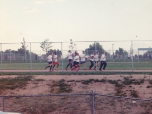We used to watch the girls play softball out of the window in our room.